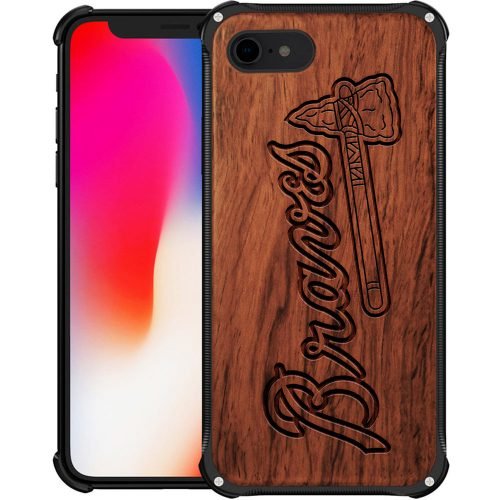 Atlanta Braves iPhone 8 Case - Hybrid Metal and Wood Cover