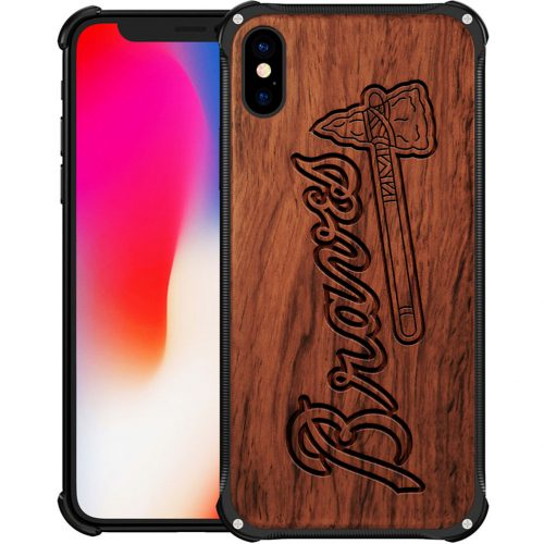 Atlanta Braves iPhone X Case - Hybrid Metal and Wood Cover