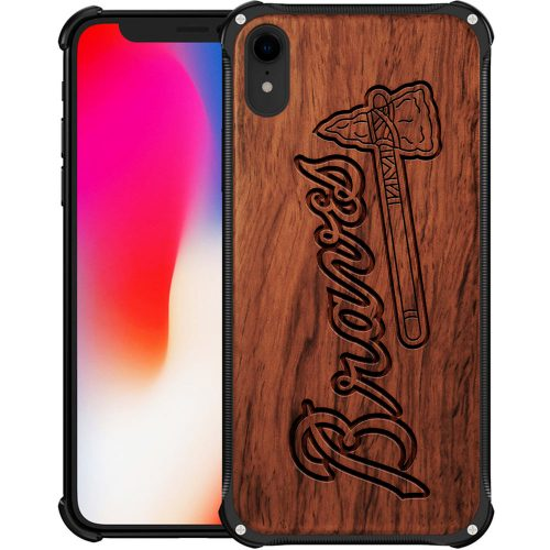Atlanta Braves iPhone XR Case - Hybrid Metal and Wood Cover