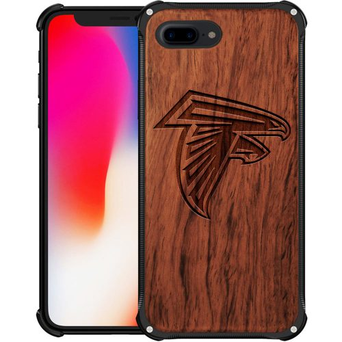 Atlanta Falcons iPhone 8 Plus Case - Hybrid Metal and Wood Cover