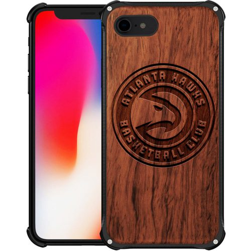 Atlanta Hawks iPhone 8 Case - Hybrid Metal and Wood Cover