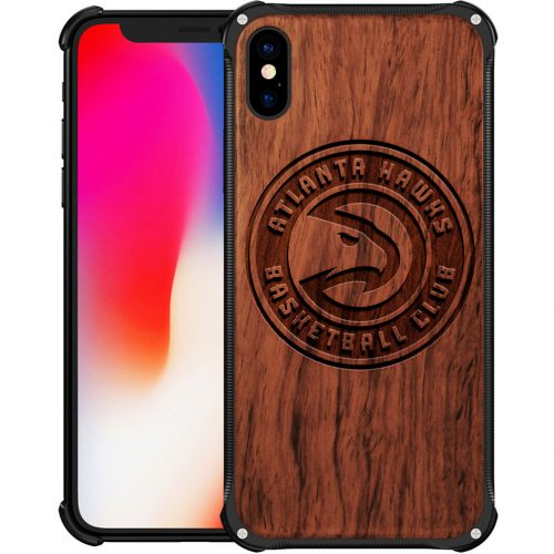 Atlanta Hawks iPhone XS Case - Hybrid Metal and Wood Cover