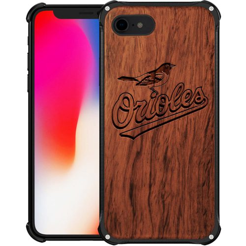 Baltimore Orioles iPhone 8 Case - Hybrid Metal and Wood Cover