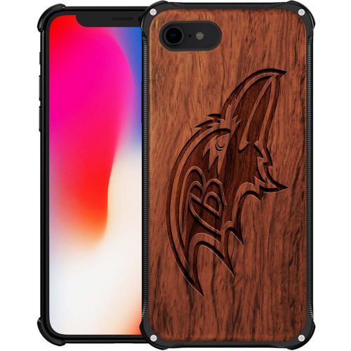 Baltimore Ravens iPhone 8 Case - Hybrid Metal and Wood Cover