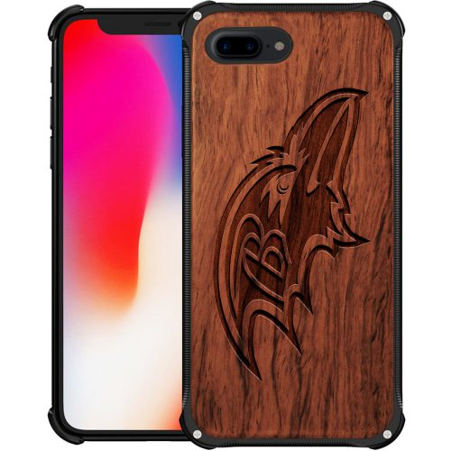 Baltimore Ravens iPhone 8 Plus Case - Hybrid Metal and Wood Cover