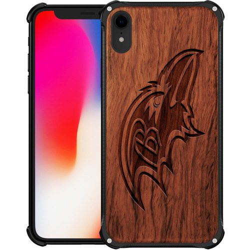 Baltimore Ravens iPhone XR Case - Hybrid Metal and Wood Cover