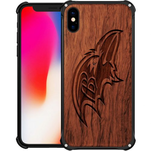 Baltimore Ravens iPhone XS Case - Hybrid Metal and Wood Cover