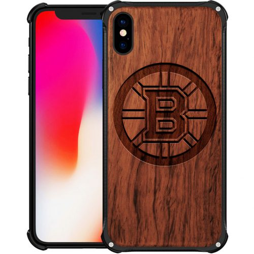 Boston Bruins iPhone X Case - Hybrid Metal and Wood Cover
