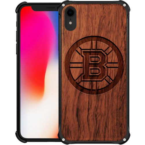 Boston Bruins iPhone XR Case - Hybrid Metal and Wood Cover