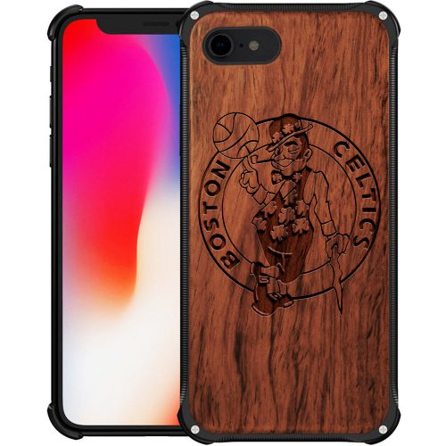 Boston Celtics iPhone 8 Case - Hybrid Metal and Wood Cover