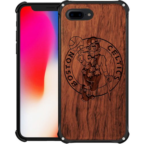 Boston Celtics iPhone 8 Plus Case - Hybrid Metal and Wood Cover