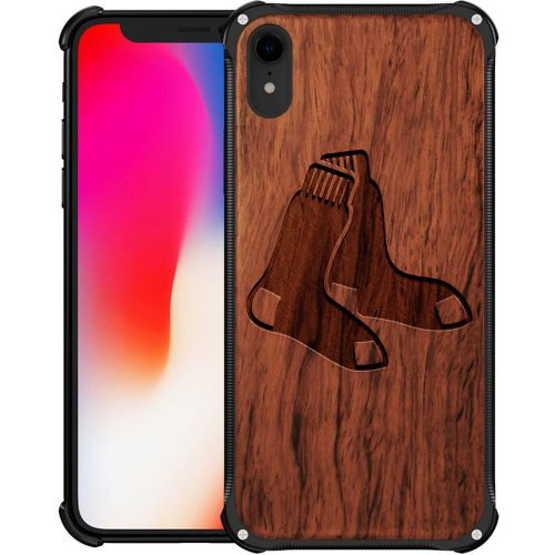 Boston Red Sox iPhone XR Case - Hybrid Metal and Wood Cover