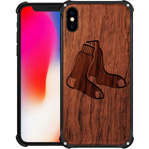 Boston Red Sox iPhone XS Max Case - Hybrid Metal and Wood Cover