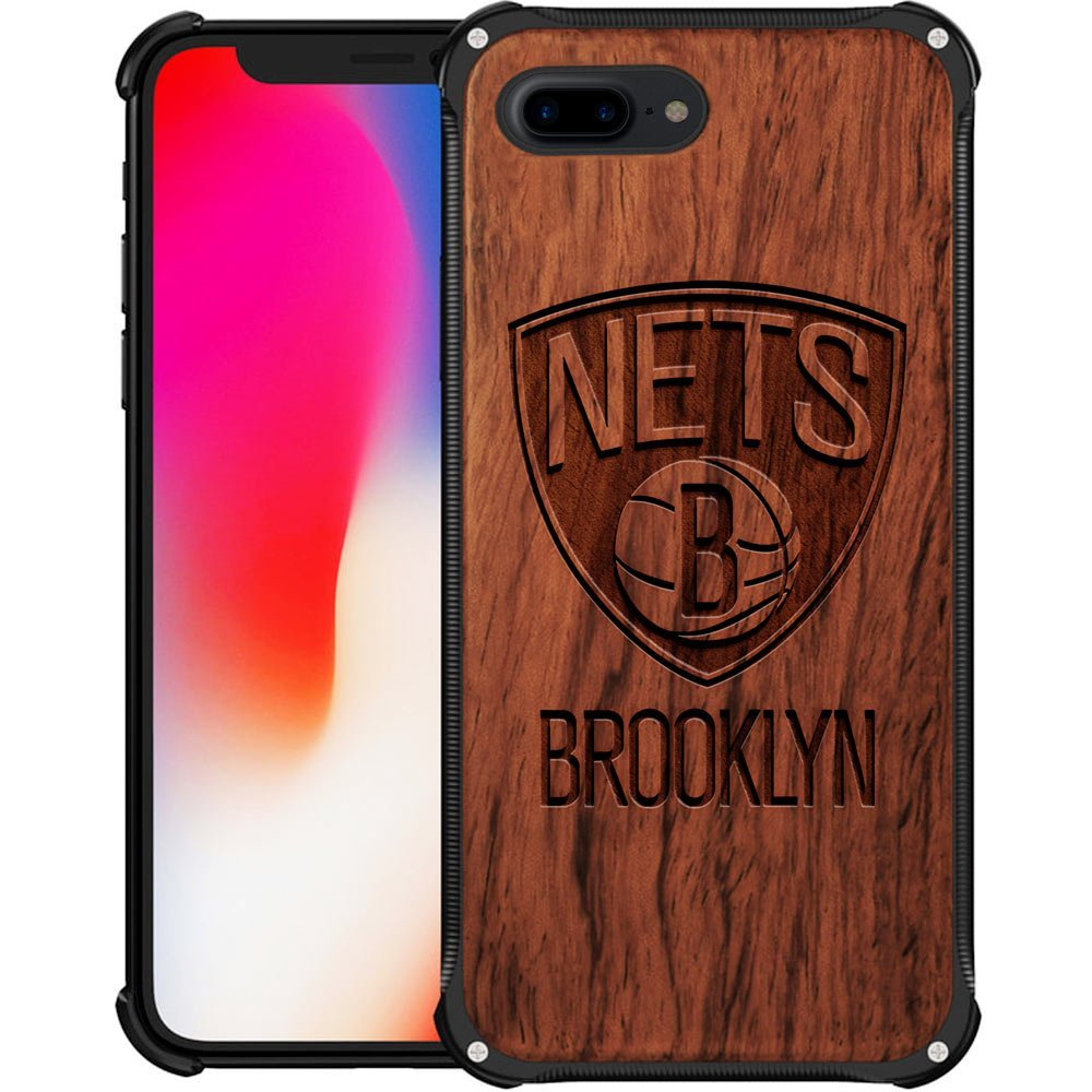 Brooklyn Nets iPhone 7 Plus Case - Hybrid Metal and Wood Cover