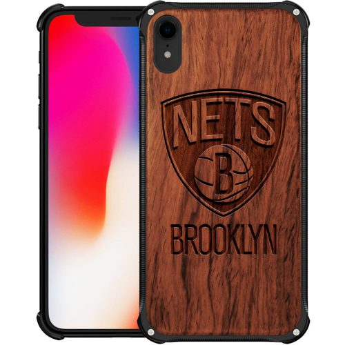 Brooklyn Nets iPhone XR Case - Hybrid Metal and Wood Cover