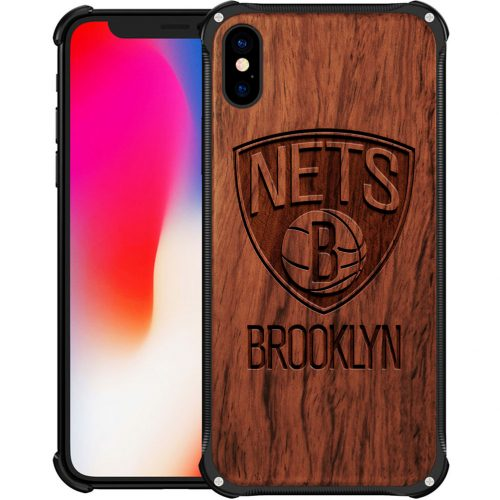 Brooklyn Nets iPhone XS Case - Hybrid Metal and Wood Cover