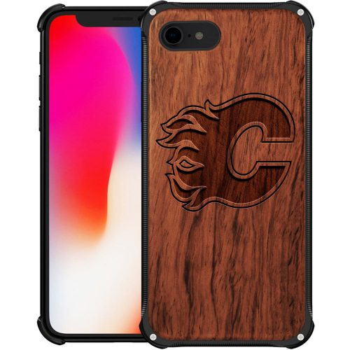 Calgary Flames iPhone 8 Case - Hybrid Metal and Wood Cover