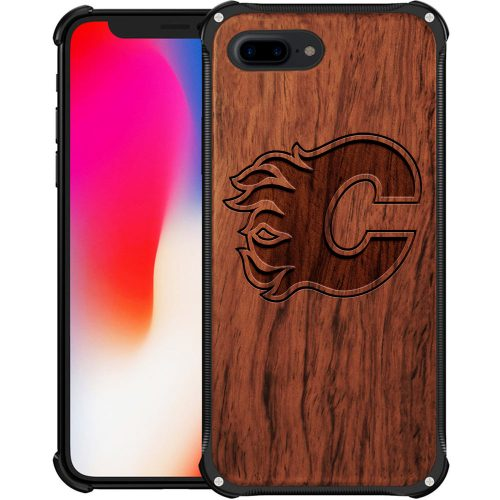 Calgary Flames iPhone 8 Plus Case - Hybrid Metal and Wood Cover