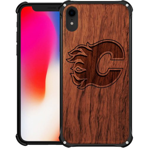 Calgary Flames iPhone XR Case - Hybrid Metal and Wood Cover