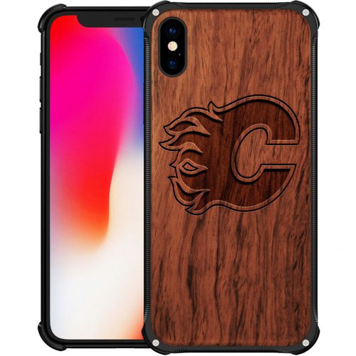 Calgary Flames iPhone XS Max Case - Hybrid Metal and Wood Cover