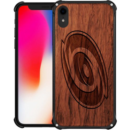 Carolina Hurricanes iPhone XR Case - Hybrid Metal and Wood Cover