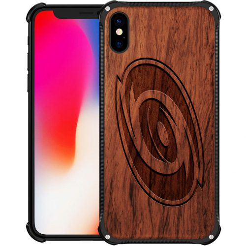 Carolina Hurricanes iPhone XS Max Case - Hybrid Metal and Wood Cover