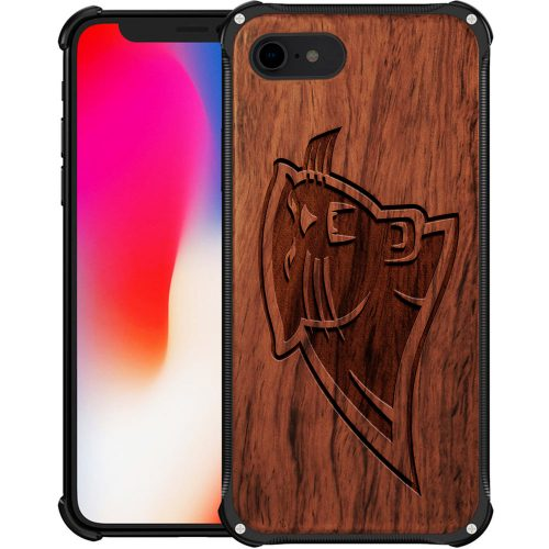 Carolina Panthers iPhone 8 Case - Hybrid Metal and Wood Cover
