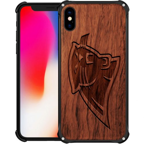 Carolina Panthers iPhone X Case - Hybrid Metal and Wood Cover