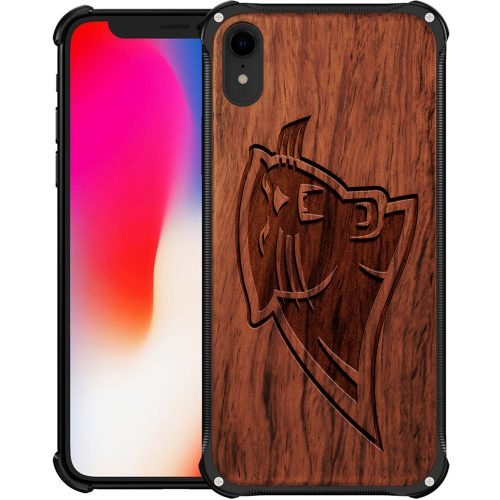 Carolina Panthers iPhone XR Case - Hybrid Metal and Wood Cover