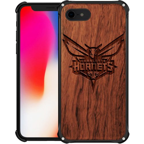 Charlotte Hornets iPhone 8 Case - Hybrid Metal and Wood Cover