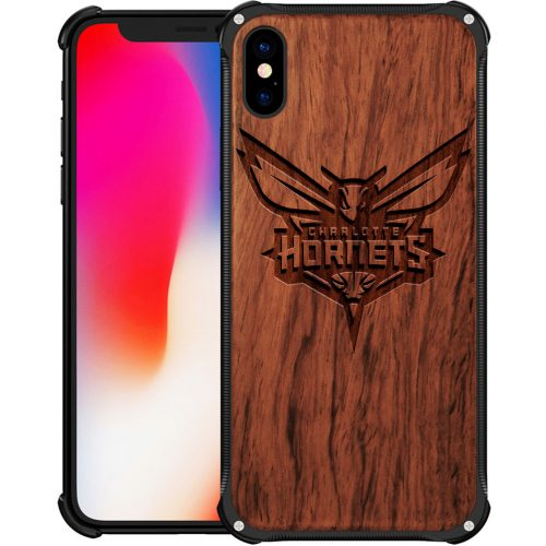 Charlotte Hornets iPhone X Case - Hybrid Metal and Wood Cover