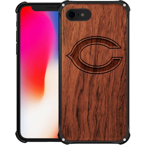 Chicago Bears iPhone 8 Case - Hybrid Metal and Wood Cover