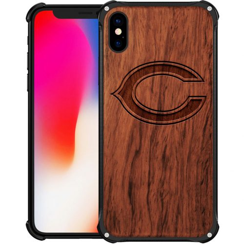 Chicago Bears iPhone X Case - Hybrid Metal and Wood Cover