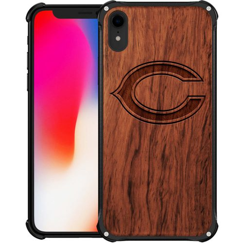 Chicago Bears iPhone XR Case - Hybrid Metal and Wood Cover