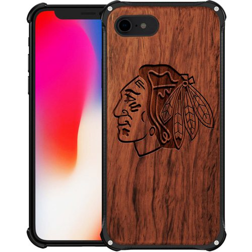 Chicago Blackhawks iPhone 8 Case - Hybrid Metal and Wood Cover