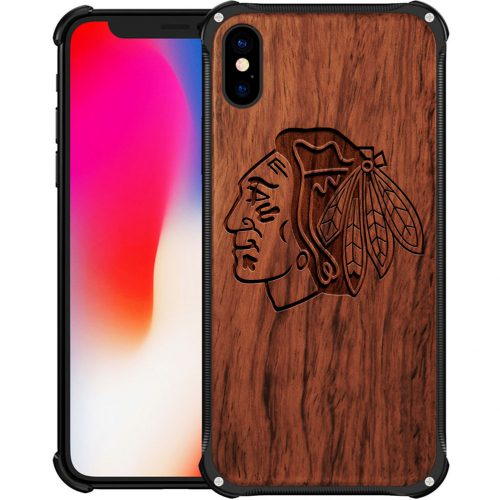 Chicago Blackhawks iPhone X Case - Hybrid Metal and Wood Cover