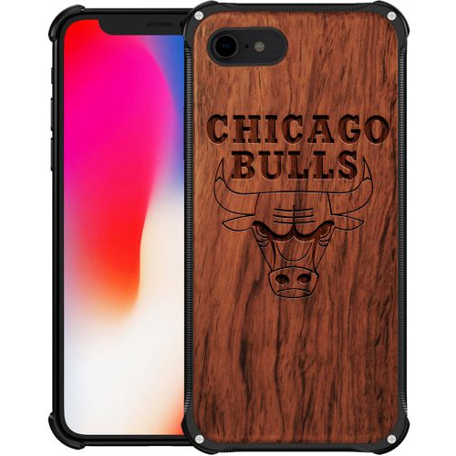Chicago Bulls iPhone 8 Case - Hybrid Metal and Wood Cover