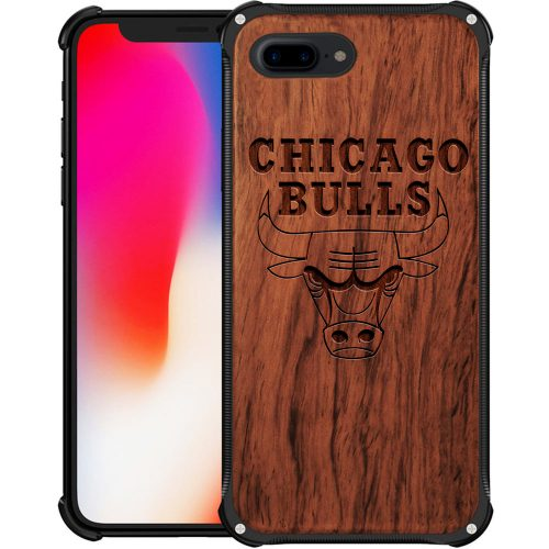 Chicago Bulls iPhone 8 Plus Case - Hybrid Metal and Wood Cover