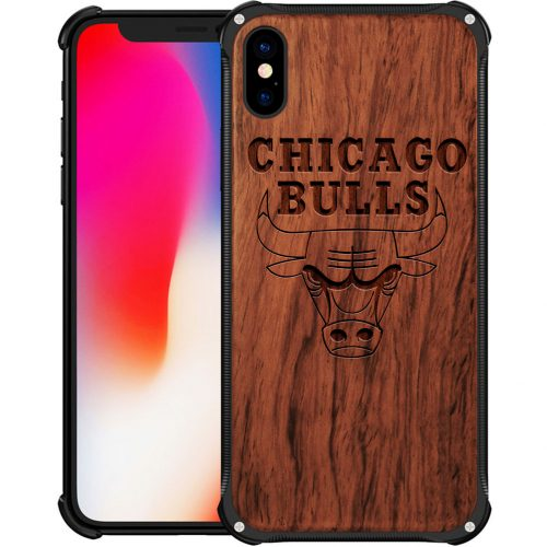 Chicago Bulls iPhone XS Max Case - Hybrid Metal and Wood Cover