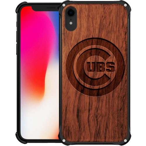 Chicago Cubs iPhone XR Case - Hybrid Metal and Wood Cover