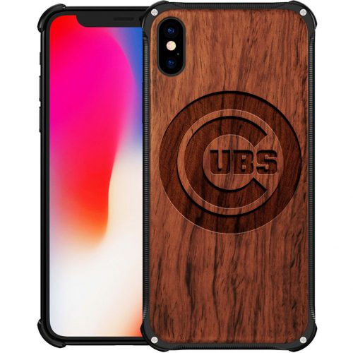 Chicago Cubs iPhone XS Max Case - Hybrid Metal and Wood Cover