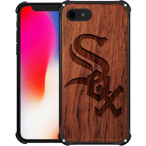 Chicago White Sox iPhone 8 Case - Hybrid Metal and Wood Cover