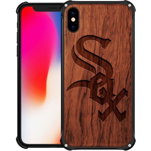 Chicago White Sox iPhone X Case - Hybrid Metal and Wood Cover