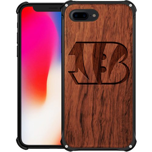 Cincinnati Bengals iPhone 8 Plus Case - Hybrid Metal and Wood Cover