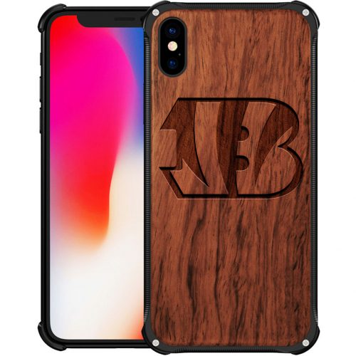 Cincinnati Bengals iPhone XS Max Case - Hybrid Metal and Wood Cover