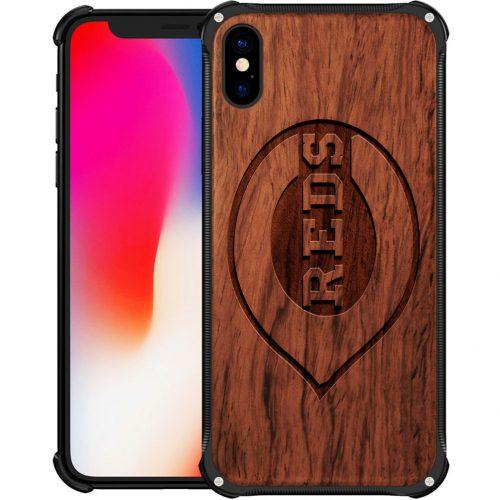 Cincinnati Reds iPhone XS Case - Hybrid Metal and Wood Cover