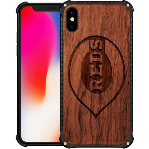 Cincinnati Reds iPhone XS Max Case - Hybrid Metal and Wood Cover