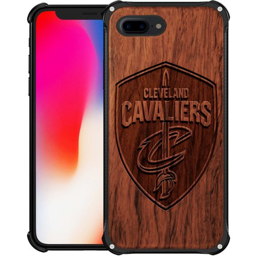 Cleveland Cavaliers iPhone 7 Plus Case - Hybrid Metal and Wood Cover