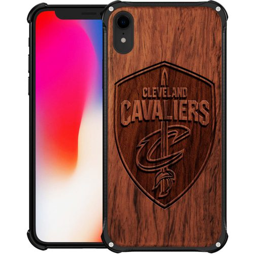 Cleveland Cavaliers iPhone XR Case - Hybrid Metal and Wood Cover