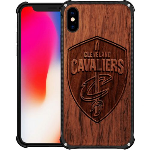 Cleveland Cavaliers iPhone XS Case - Hybrid Metal and Wood Cover